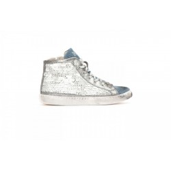 2 STAR - SNEAKER HIGH DONNA - PAILLETTES BIANCHE/JEANS