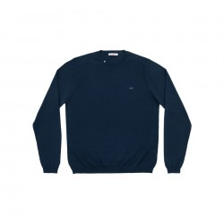 SUN68 ROUND NECK SOLID - Navy Blue