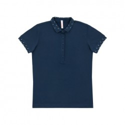 SUN68 POLO EL. DIAMOND ON COLLAR & CUFF WOMAN - Navy Blue