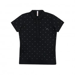 SUN68 POLO EL. DIAMOND WOMAN - Black