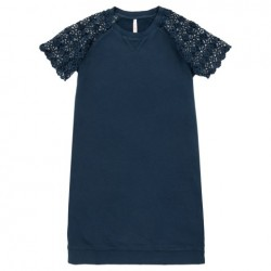 SUN68 DRESS LACE COTTON FL - Navy Blue